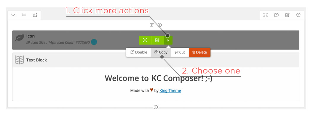 Copy, Cut an Element in KingComposer